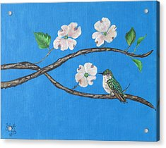 Acrylic Print featuring the painting Dogwood And Hummingbird by Ella Kaye Dickey