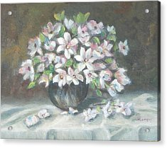 Acrylic Print featuring the painting Dogwood Buquet by Katalin Luczay