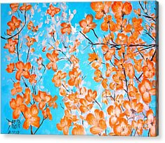 Acrylic Print featuring the painting Dogwoods by Donna Dixon