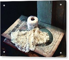 Doily And Crochet Thread Acrylic Print by Susan Savad