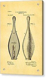 Dokkenwadel Bowling Pin Patent Art 1895 Acrylic Print