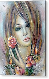 Acrylic Print featuring the painting Doll With Roses 010111 by Selena Boron
