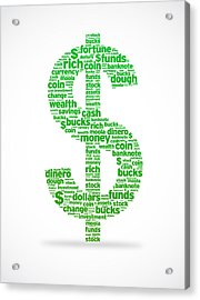 Dollar Sign Acrylic Print by Aged Pixel
