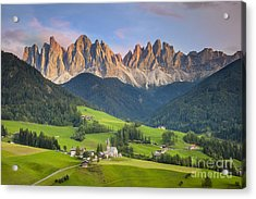 Dolomites From Val Di Funes Acrylic Print