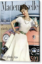 Dolores Hawkins In Front Of A Ford Crestline Acrylic Print