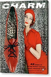 Dolores Hawkins Wears A Dachettes Hat And Red Acrylic Print