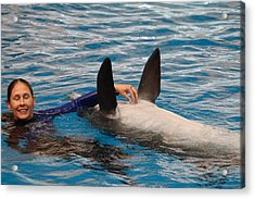 Dolphin Show - National Aquarium In Baltimore Md - 1212233 Acrylic Print by DC Photographer