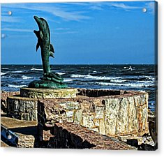 Dolphin Statue Acrylic Print by Judy Vincent