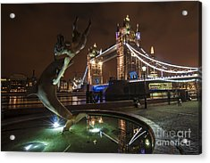 Dolphin Statue Tower Bridge Acrylic Print by Donald Davis