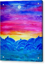 Dolphin Sunset Acrylic Print by Sheri Salin