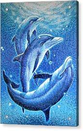 Acrylic Print featuring the painting Dolphin Trio by Mia Tavonatti