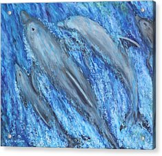 Dolphins At Play Acrylic Print by Penny Birch-Williams