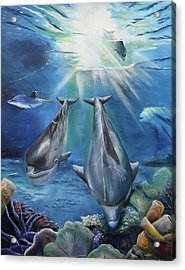 Acrylic Print featuring the painting Dolphins Playing by Thomas J Herring