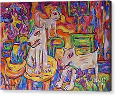 Domesticated Wolves In Dutch Iris Room Acrylic Print