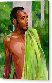 Dominican Boy With Towel Acrylic Print by Douglas Simonson