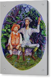 Don Quijote Shows Sancho A New Paradise Acrylic Print by Estela Robles
