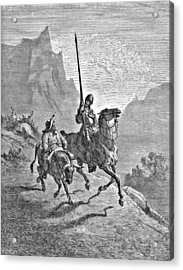 Don Quixote And Sancho Panza Illustration Acrylic Print by Gustave Dore