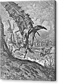 Don Quixote Attacks The Windmill Engraving Acrylic Print by Gustave Dore