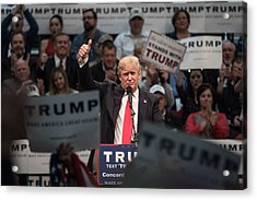 Donald Trump Holds Campaign Rally In North Carolina Acrylic Print by Sean Rayford