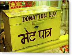 Donation Box, Shree Laxmi Narihan Ji Acrylic Print by Inger Hogstrom