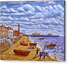 Donkey Rides On Blackpool Beach Acrylic Print by Ronald Haber