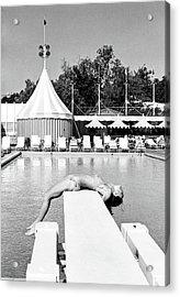 Donna Garrett Lying On A Diving Board Acrylic Print