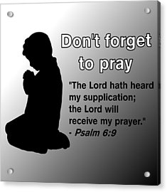 Don't Forget To Pray Praying Child Acrylic Print by Pharris Art