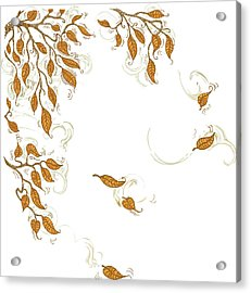 Doodle Autumn Leaves Corner Element Acrylic Print by Dddb