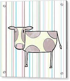 Doodle Farm On Stripes I Acrylic Print