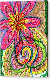 Doodle Flowers Acrylic Print by Donniece Smith