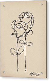 Doodle Roses Acrylic Print