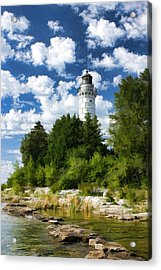 Cana Island Lighthouse Cloudscape In Door County Acrylic Print