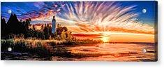 Door County Cana Island Lighthouse Sunrise Panorama Acrylic Print