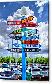 Door County Directional Sign In Egg Harbor Acrylic Print