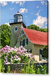 Door County Eagle Bluff Lighthouse Lilacs Acrylic Print