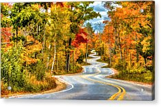 Door County Road To Northport In Autumn Acrylic Print