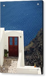 Door Facing The Aegean Sea Acrylic Print by Aiolos Greek Collections