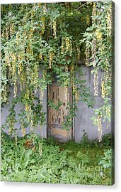Acrylic Print featuring the photograph Door Hidden By Flowers by Linda Prewer