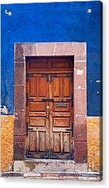 Door In Blue And Yellow Wall Acrylic Print by Oscar Gutierrez