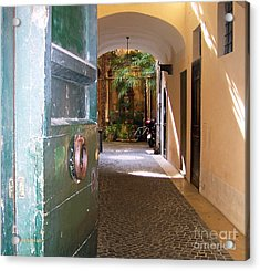 Door In Florence Acrylic Print by Debby Pueschel