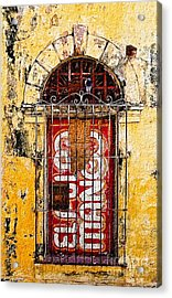 Acrylic Print featuring the photograph Door Series - Yellow by Susan Parish