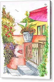 Door With A Flower Pot In Venice Beach - California Acrylic Print