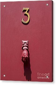 Doorknocker And Number Three On A Red Door. France. Europe. Acrylic Print