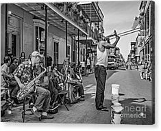 Doreen's Jazz New Orleans - Oil Bw Acrylic Print by Steve Harrington
