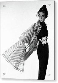 Dorian Leigh Wearing A Bonnie Cashin Dress Acrylic Print by Cecil Beaton