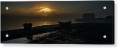 Acrylic Print featuring the photograph Dories Beached In Lifting Fog by Marty Saccone