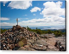 Acrylic Print featuring the photograph Dorr Mountain Summit - Acadia by Kirkodd Photography Of New England
