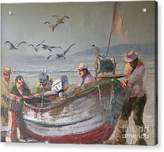 Dory Fishermen Acrylic Print by Ray Mitchell