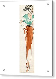 College Girl Acrylic Print by Beverly Solomon Design