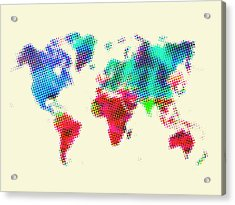 Dotted World Map 2 Acrylic Print by Naxart Studio